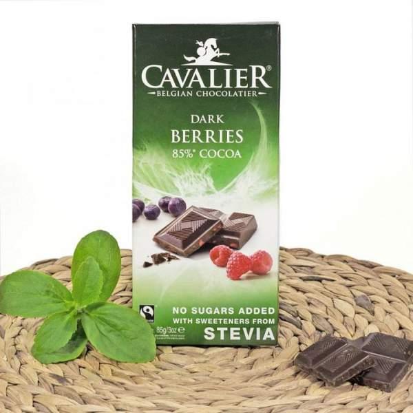 Zartbitter Schokolade Beeren mit Stevia